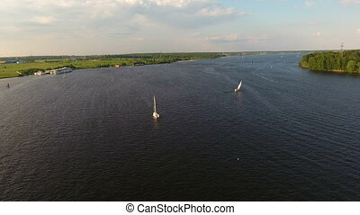 Aerial view:Sailing boat on the lake - Sailing boat on the...