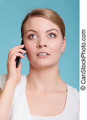 Young woman talk on mobile phone - Morning routine busy day...