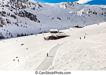 House in Alps mountains - Winter in Alps mountains,...