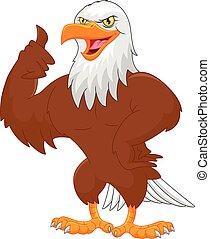 eagle cartoon thumbs up - vector illustration of eagle...