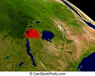 Rwanda from space in red. 3D illustration with highly...