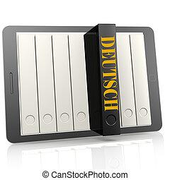 Book and tablet learn Deutsch, 3D rendering