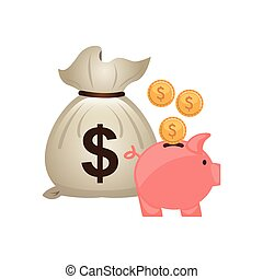 bag money with economy icon vector illustration design