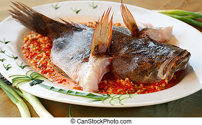Chinese steamed fish - Chinese style steamed fish with head...