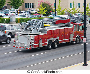 Fire Engine in Action - Fire engine responding to an...