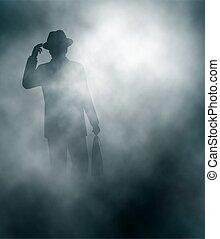 Misty businessman