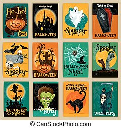 Complete set of retro posters for Halloween party - Complete...