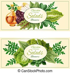 Salad greens and vegetable leaves banners set - Salad greens...