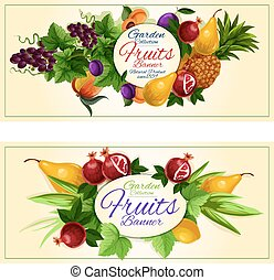 Sweet summer fruits banners for food design