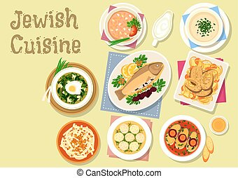 Jewish cuisine traditional dishes for dinner icon - Jewish...