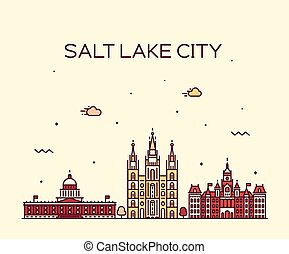 Salt Lake city skyline Utah vector linear style.