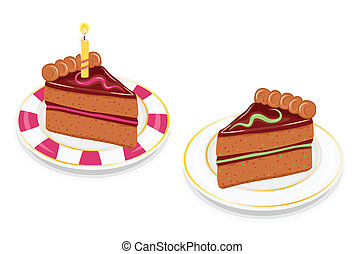 Slices of festive chocolate cake - Two slices of festive...