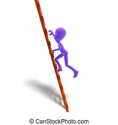 3d male icon toon character climbs the ladder. 3D rendering with clipping path and shadow over white