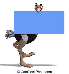 cute toon ostrich gives so much fun 3D rendering with...