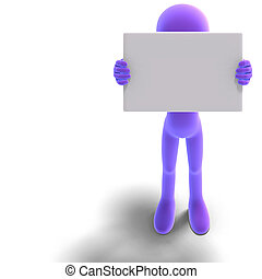 symbolic 3d male toon character show something with a blank sign. 3D rendering with clipping path and shadow over white