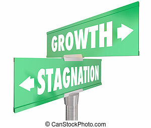 Growth Vs Stagnation Two 2 Way Road Street Signs 3d Illustration