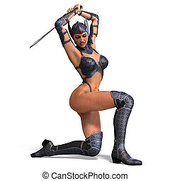 female amazon warrior with sword and armor. 3D rendering...