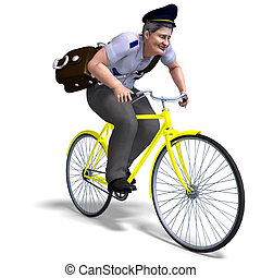 postman on a bike 3D rendering with clipping path and shadow...