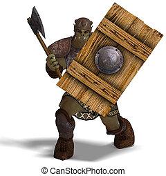 マレ, ファンタジー, Orc, 野蛮人, 巨人, おの,...