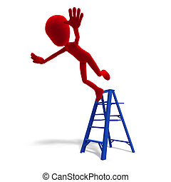 3d male icon toon character falls from the ladder. 3D rendering with clipping path and shadow over white