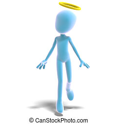 3d male icon toon character is an angel. 3D rendering with clipping path and shadow over white