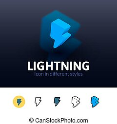 Lightning icon in different style - Lightning color icon,...