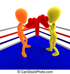 Two 3d male icon toon characters boxing against each other...