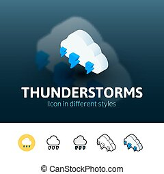 Thunderstorms icon in different style - Thunderstorms color...