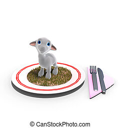 cute and funny toon lamb served on a dish as a meal. 3D rendering with clipping path and shadow over white