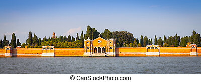 Venice Cemetery of San Michele from the waterfront - The...