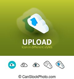 Upload icon in different style - Upload color icon, vector...