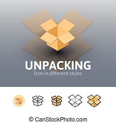 Unpacking icon in different style - Unpacking color icon,...