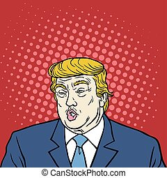 Donald Trump Pop Art Caricature Portrait Vector