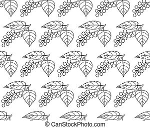 Bird cherry contour pattern - Seamless pattern of the...
