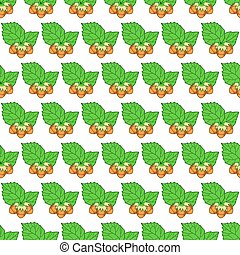 Hazel leaf and nuts pattern - Seamless pattern of the hazel...