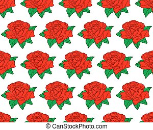 Red rose flower pattern - Seamless pattern of the red rose...