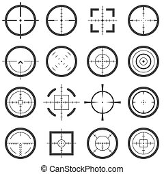Crosshairs vector icons set. Target and aiming to bullseye...