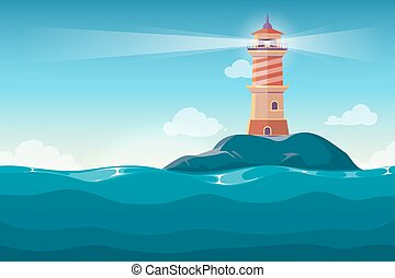 Lighthouse on rock stones island cartoon vector background