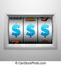 Slot machine or one armed bandit scoreboard. Casino and gambling vector concept