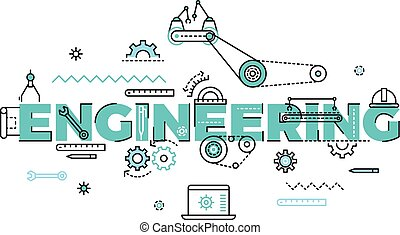 Technology, engineering vector flat concept