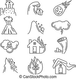 Natural disaster vector icons - Natural disaster icons....
