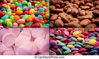 Candy And Chocolate Snacks Montage - Mixed candies and...