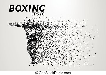 Boxer of the particles. Silhouette of a boxer consists of points. Vector illustration