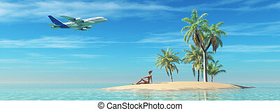 Woman relax on a tropical island and look to an airplane in...