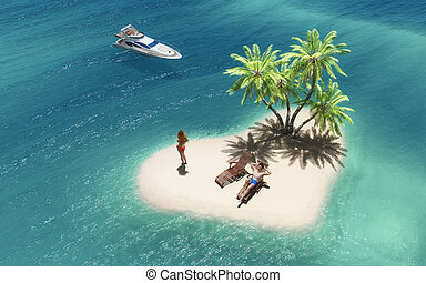 Summer tropical paradise - Couple relaxing on a tropical...
