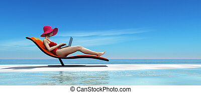 Woman in swimsuit using a laptop