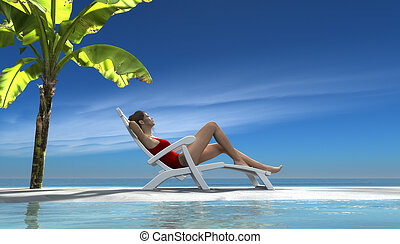 Young woman relaxing on a sunbed at the piece of beach with...