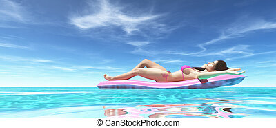 Happy woman on pink air bed - Woman relaxing on pink water...