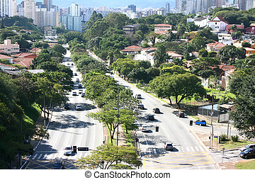 Traffic in Sao Paulo - Skyline of Sao Paulo, Brazil.