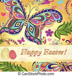 Vivid floral greeting card Happy Easter with eggs and...